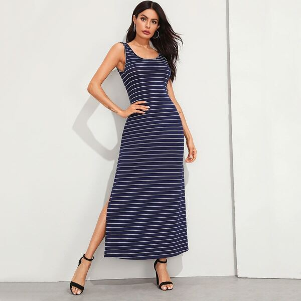 Split Side Striped Tank Dress, Navy