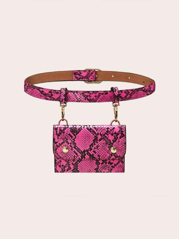 Повседневный Змеиный ярко-розовый Поясные сумки, null