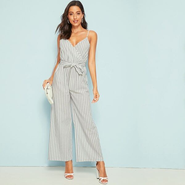 Striped Surplice Front Belted Cami Jumpsuit, Grey