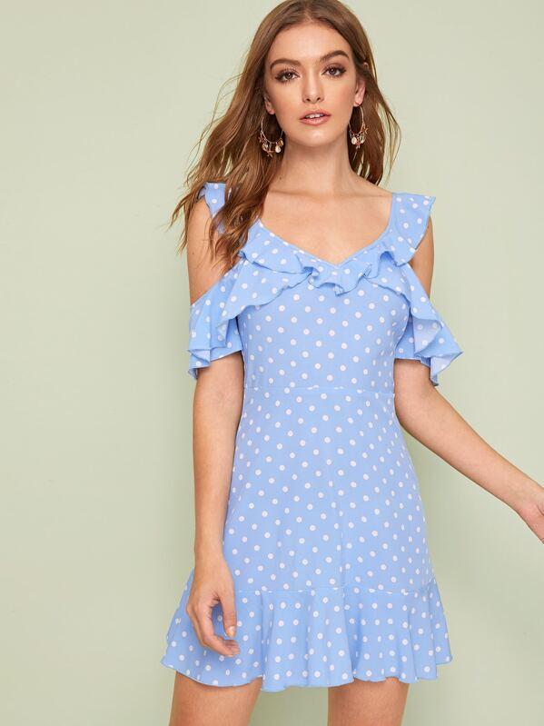 Polka-dot Cold Shoulder Ruffle Trim Dress, Luiza