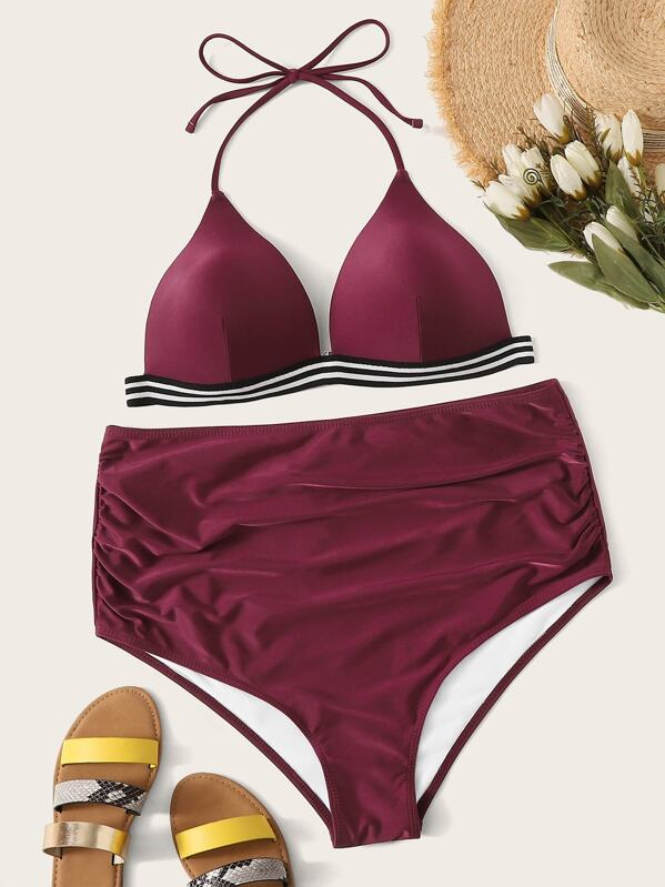 Plus Striped Hem Halter Top With Ruched Bikini Set, null
