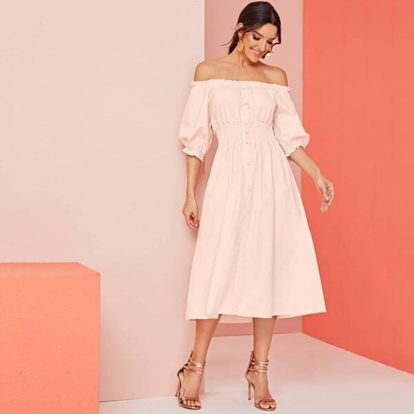 Shirred Frill Trim Off Shoulder Dress, Pink