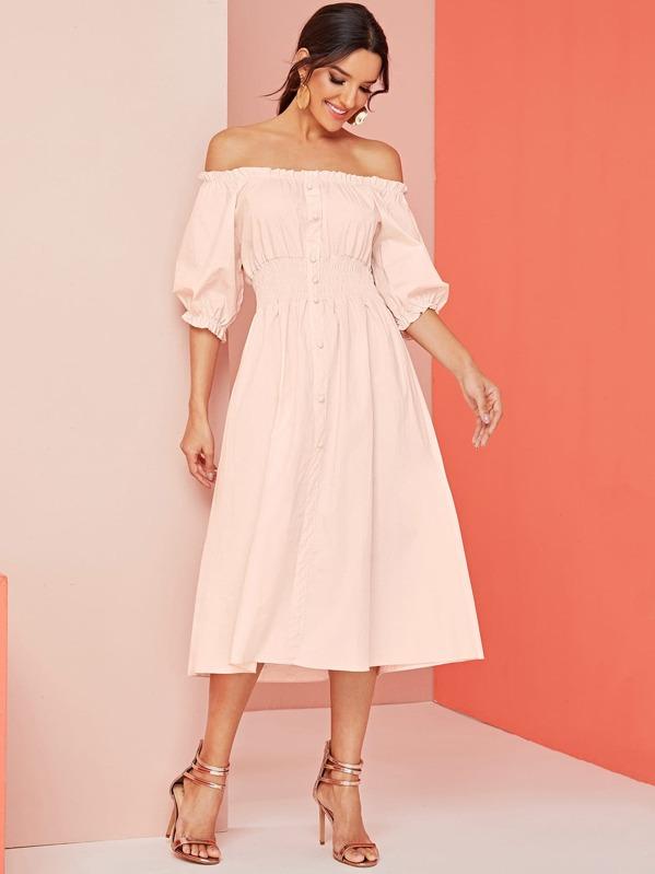 Shirred Frill Trim Off Shoulder Dress, Pink, Juliana