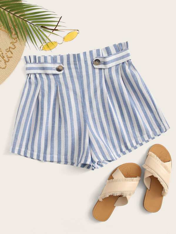 Frill Trim Buttoned Detail Striped Shorts, null