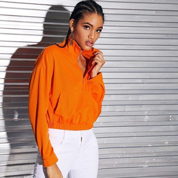 Neon Orange Zipper Front Patch Pocket Sweatshirt, Orange bright