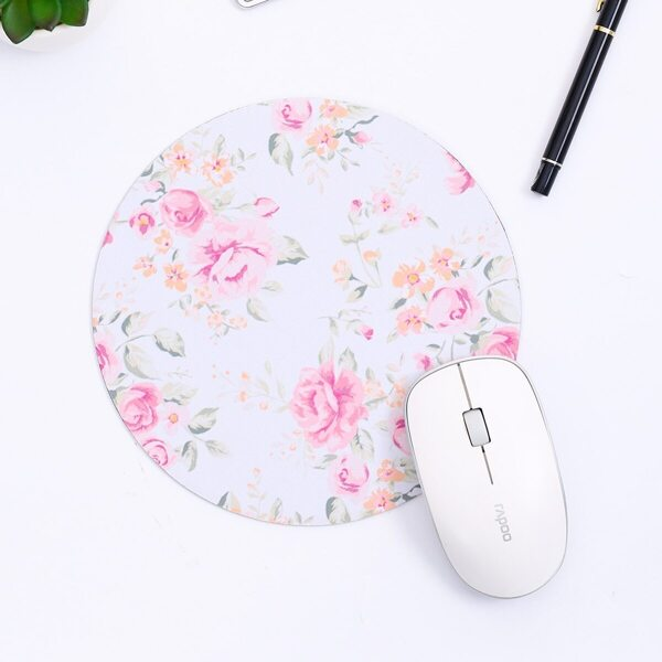 Rose Flower Print Round Mouse Pad