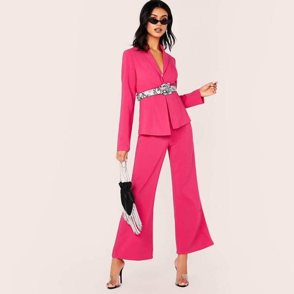 Tie Front Blazer and Flare Leg Pants Set Without Belt