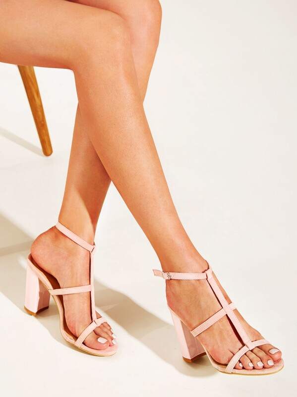 Open Toe Ankle Strap Chunky Heels, null