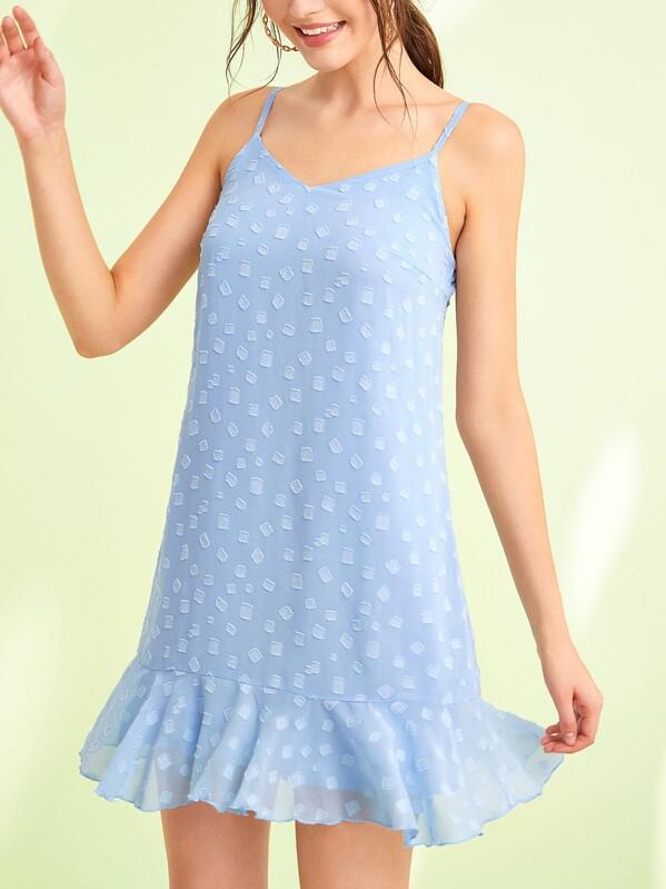 Solid Ruffle Hem Drop Waist Cami Dress, Blue, Natalia