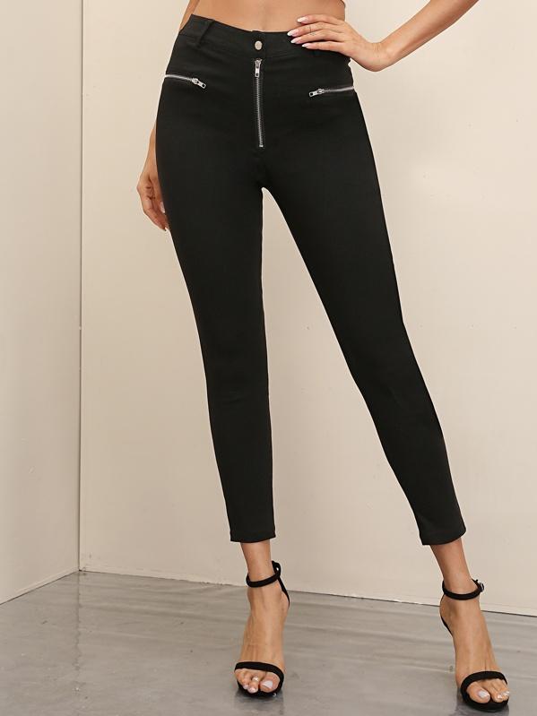 Black Wash Zip Detail Skinny Jeans, Andy