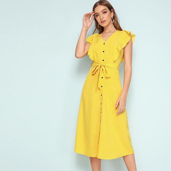 Polka-dot Ruffle Trim Button Through Belted Dress