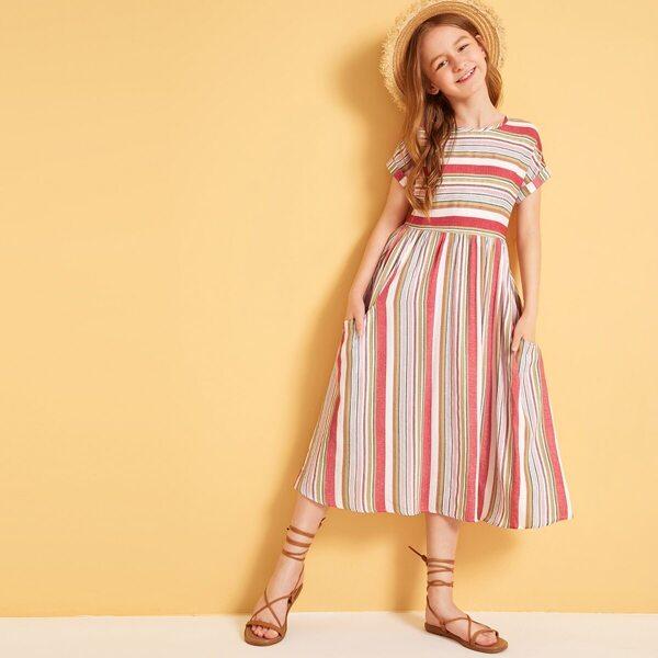Girls Striped Print Roll Up Sleeve Dress