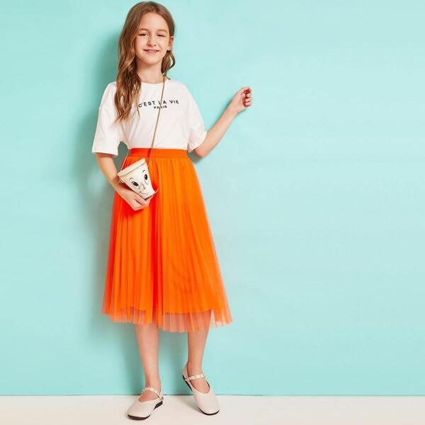 Girls Neon Orange Pleated Mesh Skirt