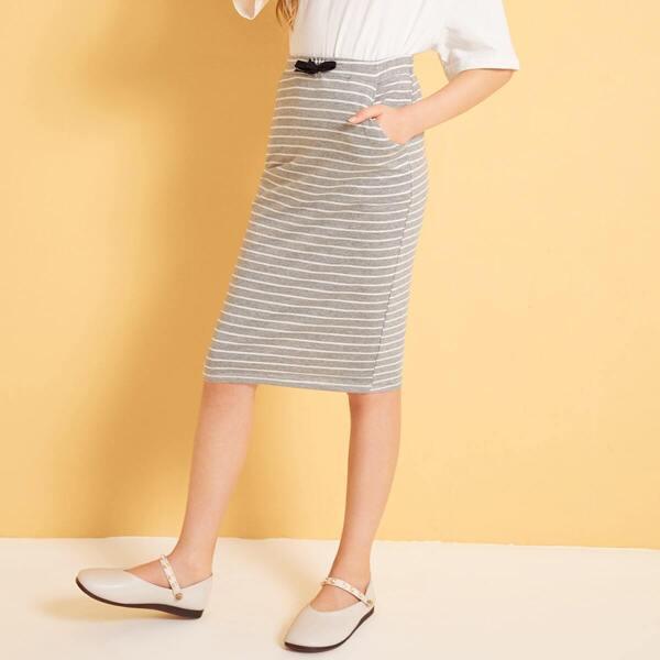 Girls Tie Front Slant Pocket Striped Pencil Skirt