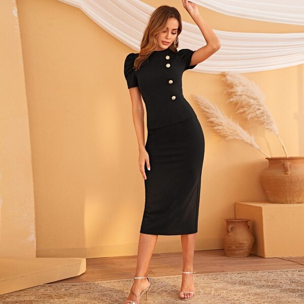 Mock-neck Puff Sleeve Top and Bodycon Skirt Set