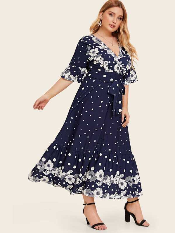 Plus Polka Dot And Floral Print Ruffle Belted Dress, Nora