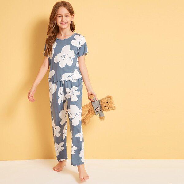 Girls Floral Print Lettuce Hem Pajama Set