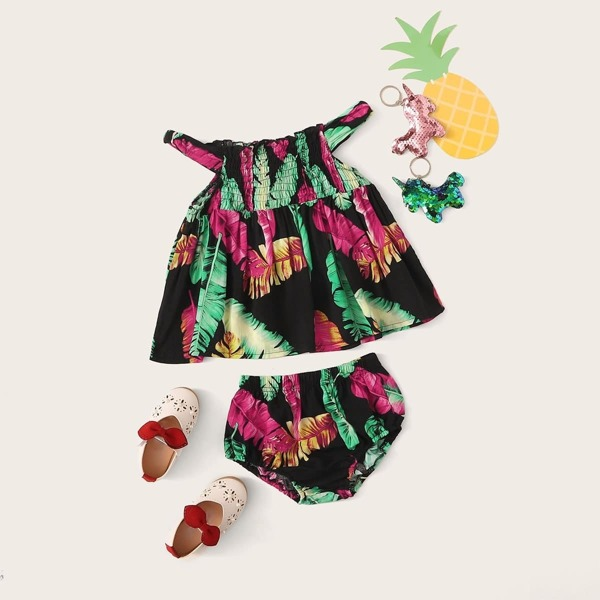 Baby Girl Tropical Print Top With Shorts