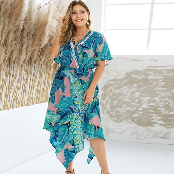 Plus Surplice Front Tropical Print Asymmetrical Hem Dress, Blue