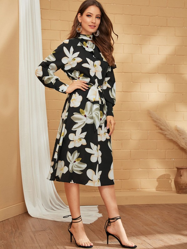 Floral Print Cut-out Shoulder Belted Dress, Debi Cruz