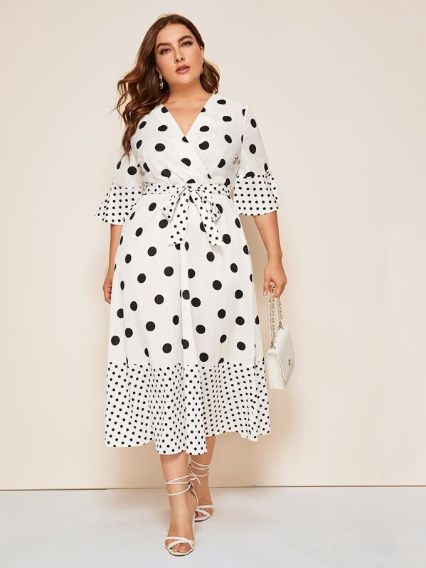 Plus Polka Dot Surplice Front Belted Dress, Franziska