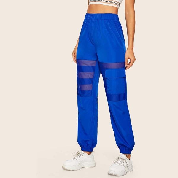 Solid Contrast Mesh Flap Pocket Pants, Blue