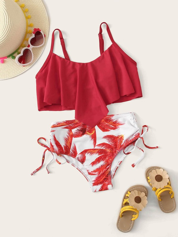 Girls Hanky Hem Top With Palm Print Bikini Set, null