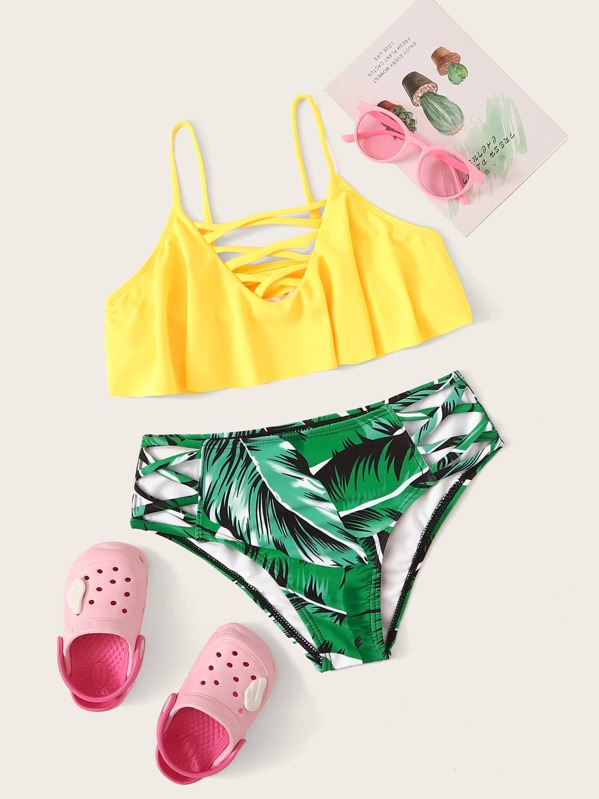 Girls Lace-up Floaty Top With Tropical Bikini Set, null