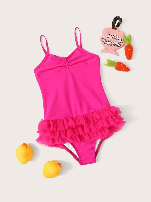 Girls Tiered Layer One Piece Swimwear, null