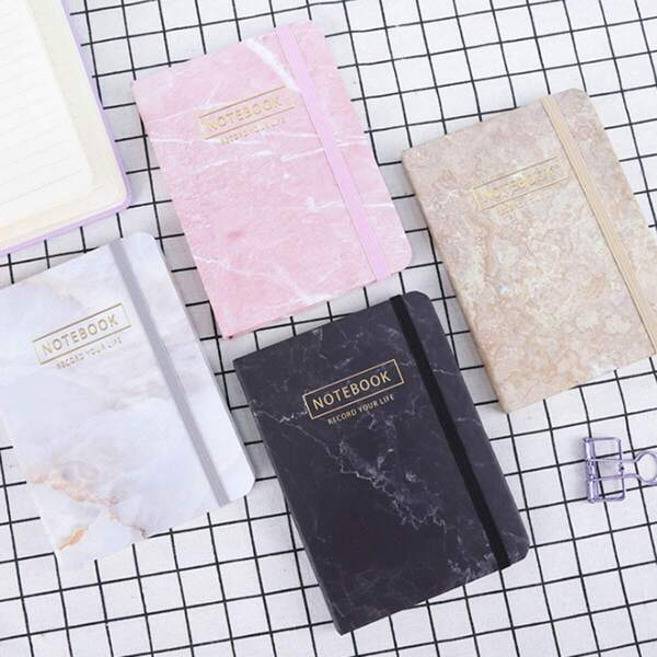 Marble Pattern Print Cover Notebook 1pc