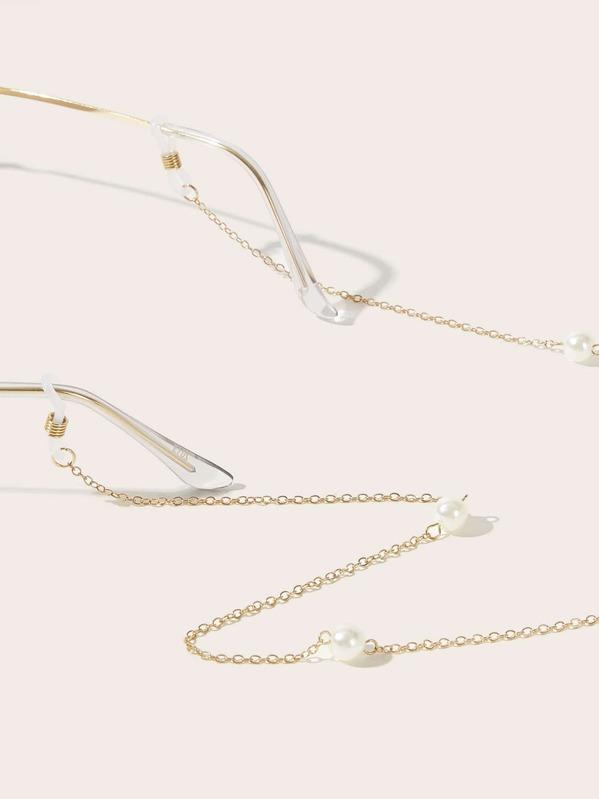 Girls Faux Pearl Decor Glasses Chain