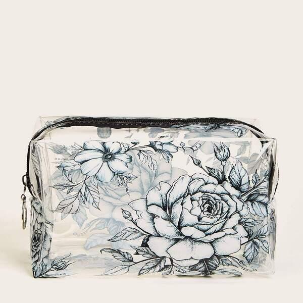 Peony Sketch Pattern Waterproof Makeup Bag