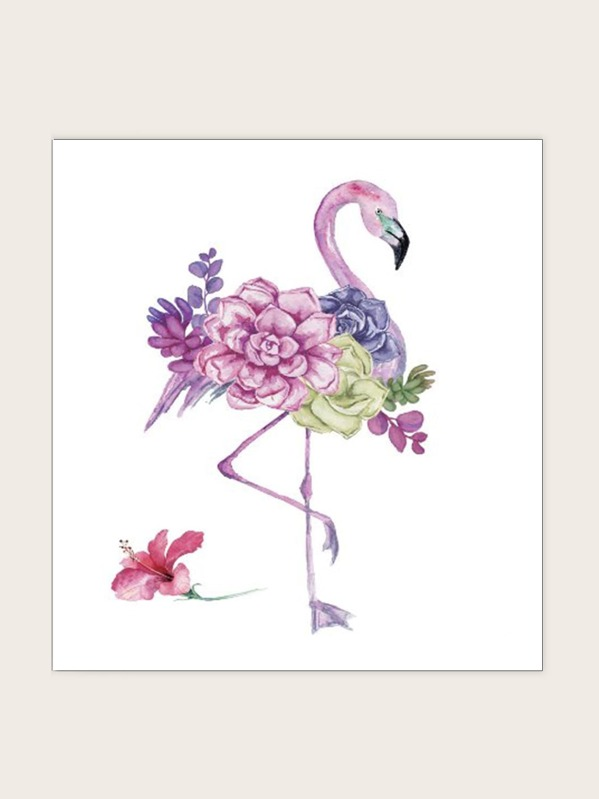 Floral Flamingo Waterproof Tattoo Sticker 1sheet, null