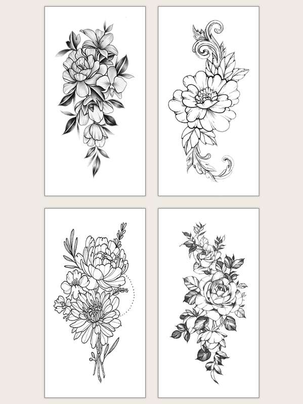 Floral Waterproof Tattoo Sticker 4sheets, null