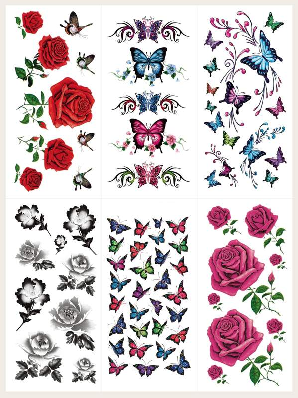 Floral Waterproof Tattoo Sticker 6sheets, null