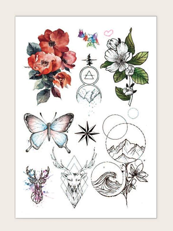 Flower & Butterfly Tattoo Sticker 1sheet, null