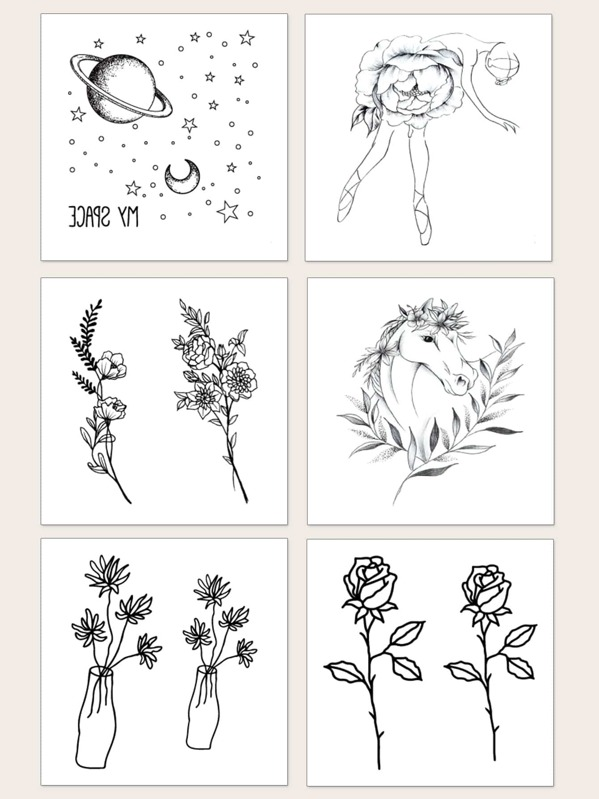 Flower & Planet Pattern Tattoo Sticker 6sheets, null