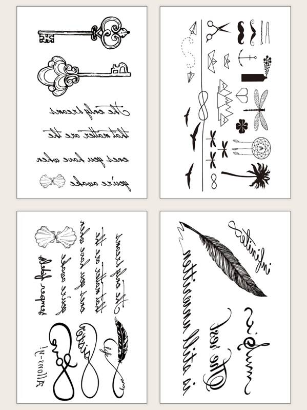 Letter Pattern Waterproof Tattoo Sticker 4sheets, null