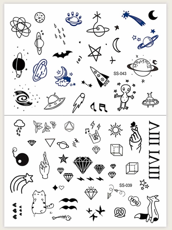 Mix Pattern Tattoo Sticker 2sheets, null