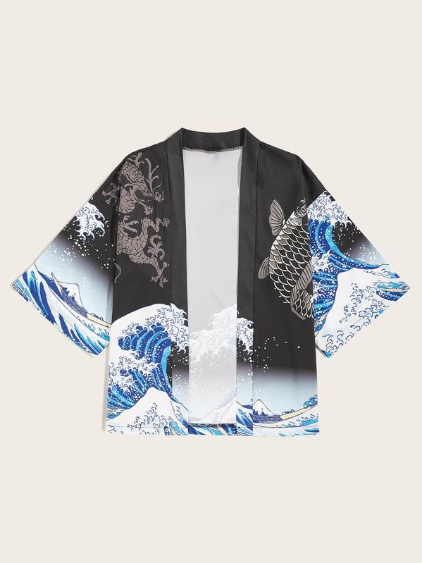 Men Fish & Dragon Print Open Front Kimono, null