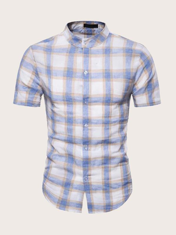 Men Button Front Plaid Shirt, null