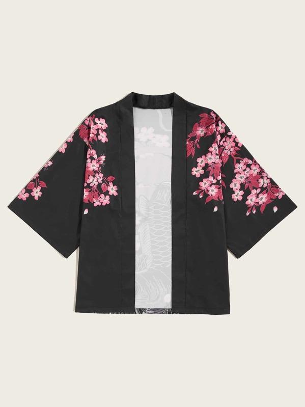 Men Fish & Floral Print Open Front Kimono, null