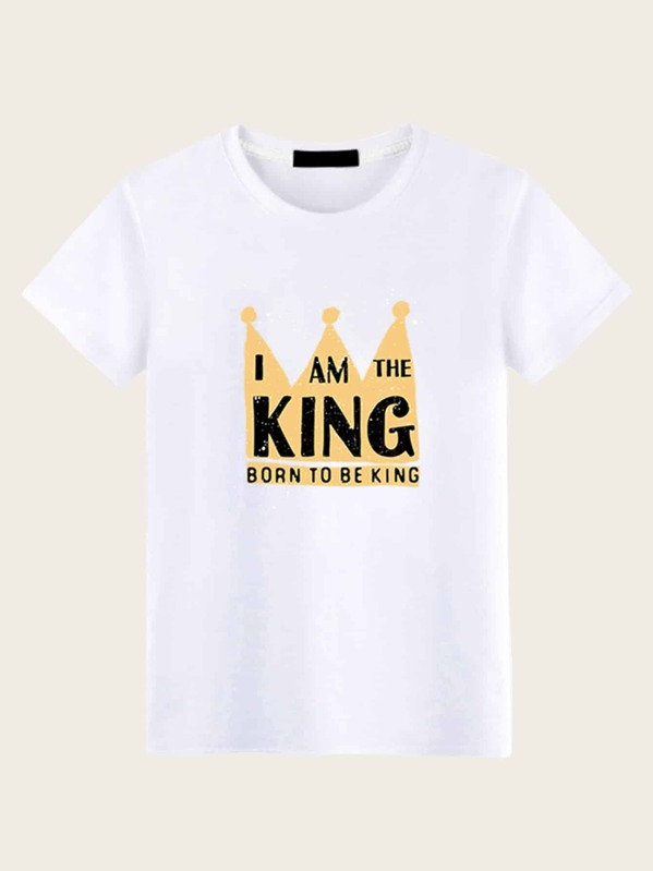 Men Letter And Crown Print Tee, null