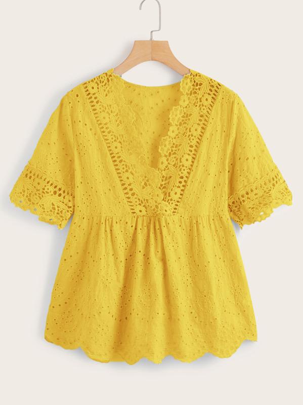 Crochet Eyelet Embroidered Ruffle Hem Blouse, Yellow