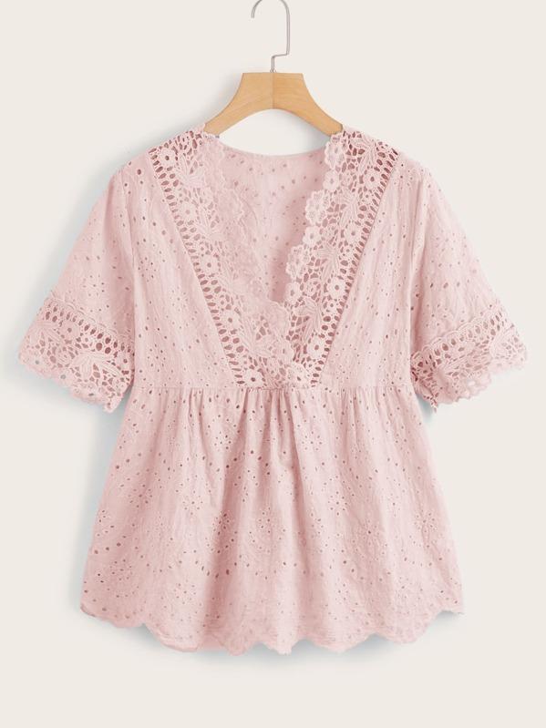 Crochet Eyelet Embroidered Ruffle Hem Blouse, Pink