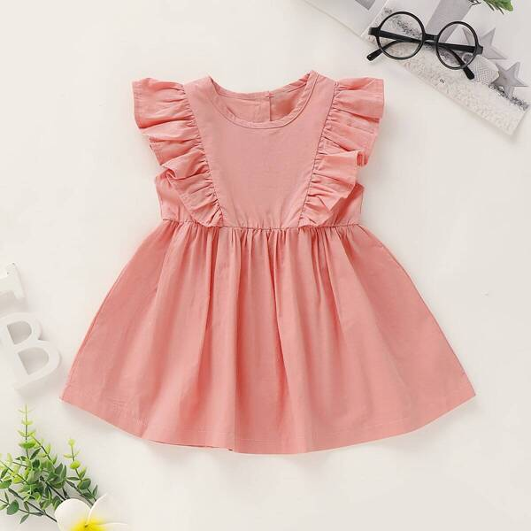 Baby Girl Ruffle Trim Buttoned Back Flare Dress