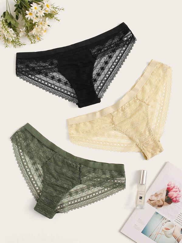 Plus Floral Lace Panty Set 3pack, null
