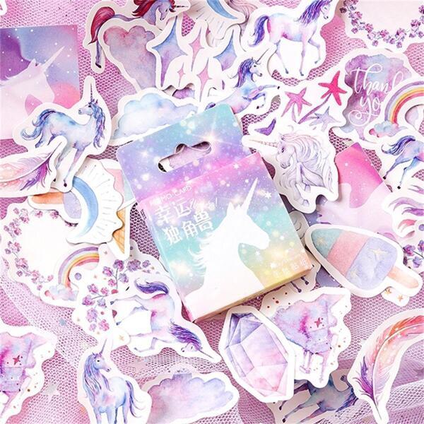 Boxed Unicorn Print Decal 48pcs