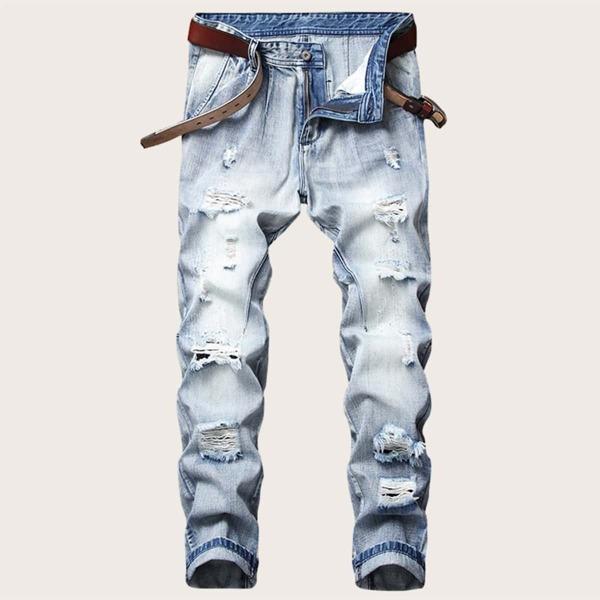Men Wash Destroyed Jeans