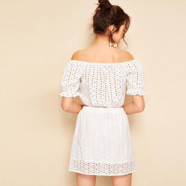 Ruffle Cuff Schiffy Crop Top and Skirt Set, White